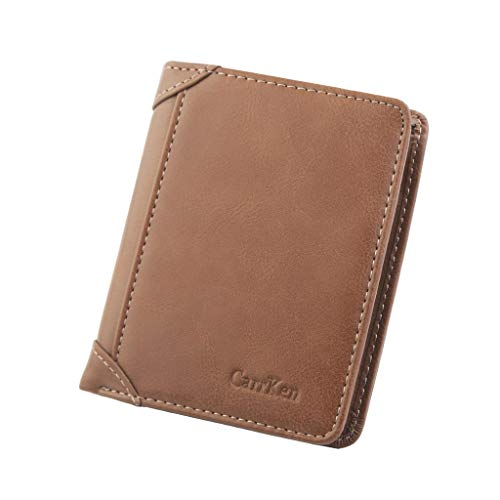 32d76a1751 MAPSOUL Wallet Leisure Men's Slim Leather Mini Wallet Credit Card Trifold  Purs Brown
