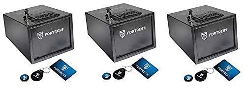 Fortress P2EAR Quick Access Pistol Safe with RFID, Black (3-(Pack))
