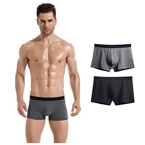 Isagax Men's Underwear, 4 Pack Men's Boxer Briefs Ultra Soft Cotton Trunks Covered Waistband Short No Ride-up Underwear Men Pack (A 2Pack(Grey/Black), US: L (Asian Tag: 3XL))