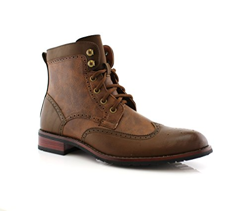 08567 Mens Casual Wing Tip Perforated High-Top Brogue Boots – Brown, Size 10.5 (Brogue Shoe Boot)
