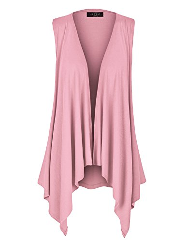 (WSK1071 Womens Lightweight Sleeveless Draped Open Cardigan L Pink)