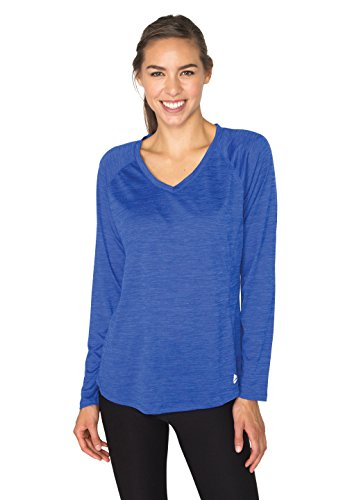 RBX Active Women's Long Sleeve Space Dye V-Neck Ultra Violet L