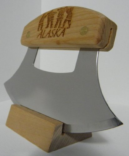 Alaskan Heritage Series Inupiat Style Ulu with Stone Images Etched Birchwood Handle and 6.25 Inch Blade