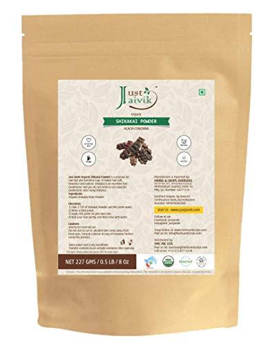 Just Jaivik 100% Organic Shikakai Powder - Certified Organic by OneCert Asia , 227 gms / 1/2 LB Pound / 08 Oz - Acacia Concina - (AN USDA Organic Herb) (Shikakai Amla Powder)