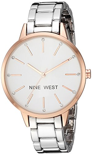 Nine West Women s Crystal Accented Rose Gold-Tone and Silver-Tone Bracelet Watch