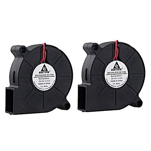 (GDSTIME 2 Pack 50mm x 15mm 5015 12v 4500rpm DC Brushless Cooling Blower Fan)