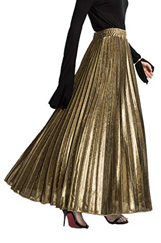(PleatedMaxiSkirt for Women - Metallic Accordion Skirt Great for Travel, Date Night, Summer Party (L, Gold)