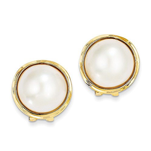 14k Yellow Gold 14-15mm Mabe Pearl Earrings 22x18 mm (Yellow Mabe 14k Gold Pearl)