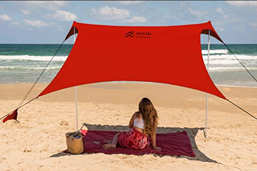 Beach Tent Sunshade Family Size 9.8'X9.8', 7ft Tall with Sandbag Anchors, Simple & Versatile. SPF50, Lycra SunShelter for The Beach,Camping and Outdoors. (red, Medium)