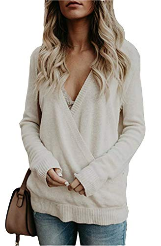 Wrap Front Sweater - FEIYOUNG Women Long Sleeve Sexy Plunge V Neck Wrap Front Loose Sweater Pullover Jumper Tops White
