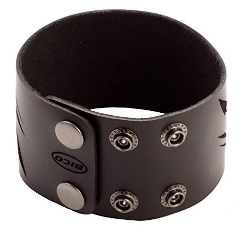 Bico Cuir Noir poignets/bracelets (Bwb12Noir) Tribal Rue Bijoux