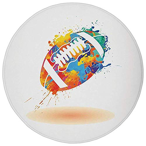 Hopscotch Rugby - Round Rug Mat Carpet,Sports,Rugby Ball with Rainbow Brush Effects Filled Covered with Colors Sports Sign Leisure,Multicolor,Flannel Microfiber Non-slip Soft Absorbent,for Kitchen Floor Bathroom