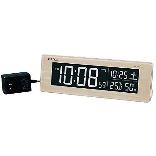 세이코 clock 자명종 전파 디지탈 교류식 컬러 액정 시리즈C3 베이지 나무결 DL210A SEIKO
