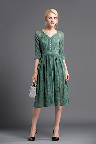 Lace Half Women`s Color Sleeve Dresses cotyledon Dress Solid V Neck UvqFxpxaw8