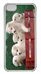 Customized iphone 5C PC Transparent Case - Wagonload Of Samoyed Puppies Personalized Cover