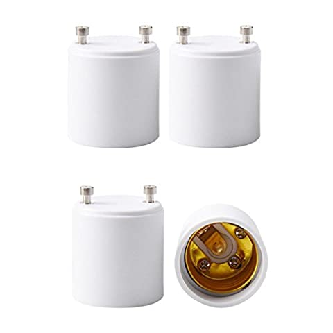 JACKYLED 4-Pack GU24 to E26 E27 Adapter Maximum Wattage 1000W Heat Resistant Up to 200℃ Fire Resistant Converts GU24 Pin Base Fixture to E26 E27 Standard Screw-in - Yellow Cfl