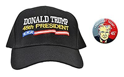 Donald Trump 45th President Hat and Button Combo