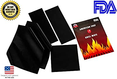 "American Chef Baking and Grill Mat (16""x13"") !100% Guaranteed. like it or its yours free! Heavy Duty, 0.2mm Thick, Reusable, FDA, Non-Stick Mat for Gas or Charcoal BBQ and Oven. Fits Round Grill"