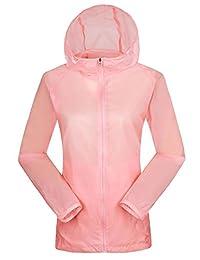 Etecredpow - Sudadera con capucha para mujer, protección UV, impermeable, manga larga, chamarra para la lluvia