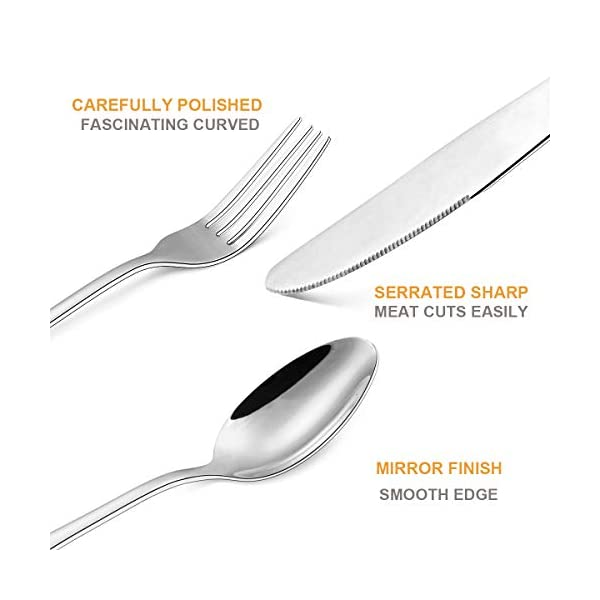 Silverware Set 20-Piece, Wildone Stainless Steel Flatware Cutlery Set Service for 4, Tableware Eating Utensils Include… 3