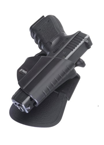 Fobus Roto Level 2 Thumb Holster RH Roto-Paddle & Belt GL2PB Glock 17/19/22/23/31/32/34/35 Level 2 Thumb Lever]()