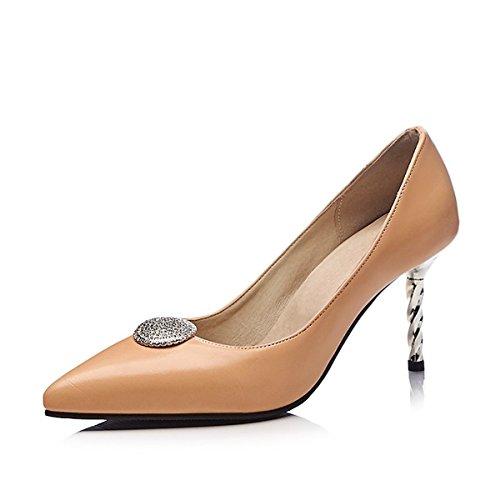 DIMAOL Chaussures Pour Femmes Simili Cuir Printemps Été de la Pompe de Base Talons Talon Chaussures Pour Mariage et Soirée Beige Rouge,Noir,Beige US5.5/EU36/UK3.5/CN35