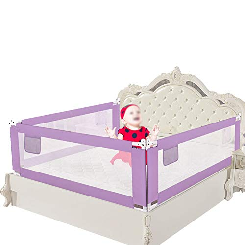 CQILONG-Bed rail 3-Side Protection Vertical Lift Invisible Button Stable Structure Breathable Fabric for Infants,5 Colors, 5 Sizes (Color : Purple, Size : -