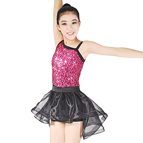 MiDee Asymmetrical-neck Sequined Leotard High-low Skirt Two-Pieces Dance Costume (IC, (Two Piece Dance Competition Costumes)