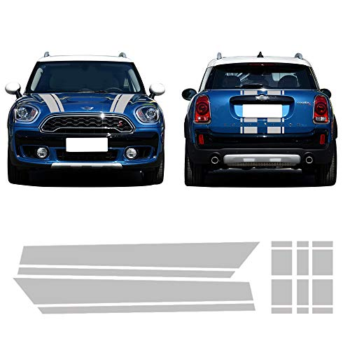 Mini Bonnet Stripes - CHARMINGHORSE Bonnet Stripe Graphics Sticker Hood Trunk Rear Decal Stickers for Mini Cooper S Countryman F60 2017-4 Colors (Silver Grey)