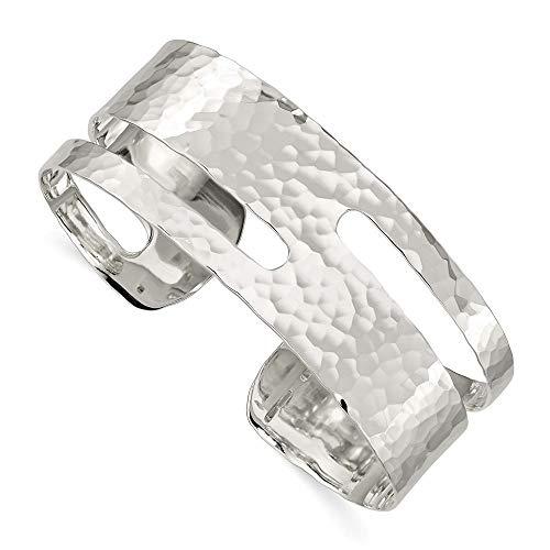 Sterling Silver Solid Polished Hammered Fancy Cuff Bangle Bracelet ()