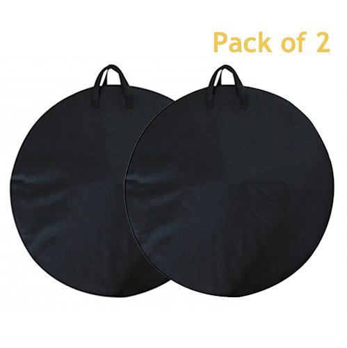 Weanas 2pc MTB Mountain Road Bike Cycling Soft Wheel Bag, Transport Cover Bag, Bike Travel Cases, Carrier Bag, Wheelset Bag (Black, Pack of 2) - Bicycle Wheel Bag
