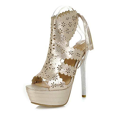 Altos 43 Moda Hoesczs Estilo 2018 Plataforma 33 Gold Delgadas Mujer Grande Hueca Zapatos Tamaño Tacones Bombas Verano Sandalias De wTq04t0xR