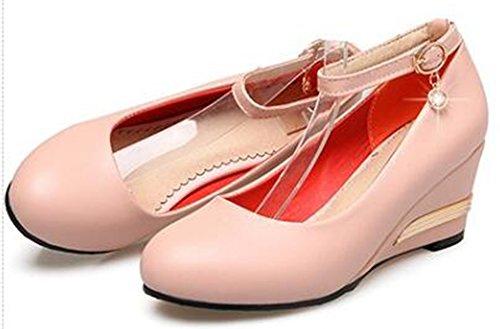 Idifu Mujeres Comfy Mid Wedge Heels Bombas Con Correa De Tobillo Y Colgante Pink
