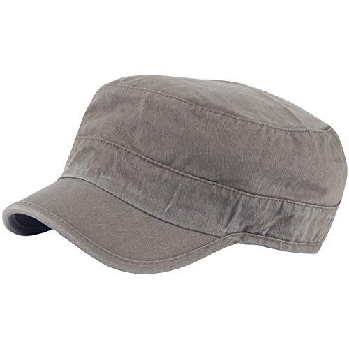 RaOn A204 Wrinkle Plain Empty Short Bill Washing Army Cap Golf Club Cadet Military (Khaki)