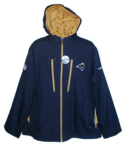 Los Angeles Rams Adult Size X-Large XL NFL Full Zip Authentic STL On Field Players Sideline Jacket Warm - Navy Blue & Gold ()