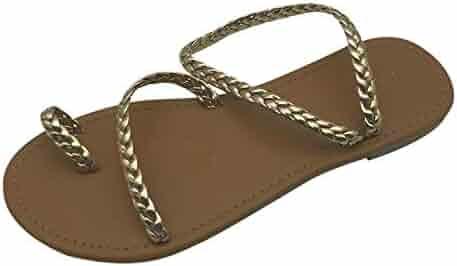 e013819f3 Yuren Snow Women Summer Strappy Gladiator Low Flat Heel Flip Flops Beach  Sandals Shoes