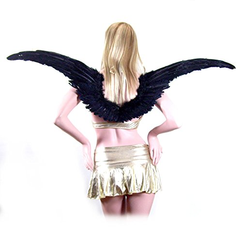SACAS Super Large Black Feather Angel Wings with Free Halo for adults, women, men 45 inch wide (Red Marabou Halo)