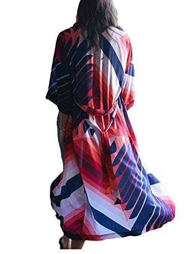 - Bsubseach Geometric Print Swimsuit Kimono Cover Up with Belt 3/4 Sleeve Open Front Cardigan Bikini Beach Cover Ups for Women