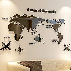 Vinilos De Pared Decorativos 180 * 100 Cm Mapa Del Mundo Acrílico 3D Cristal Sólido Dormitorio Pared Con Sala De Estar Aula Etiqueta Ideas De Decoración De Oficina