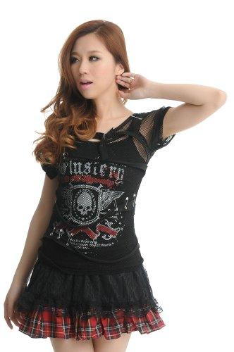 Blooms Punk Women Skull Fishnet Pintle Strip Short Sleeve T-Shirt Vest Top (Free Size, Black)