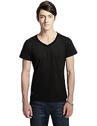 Pau1Hami1ton T-02 Men's Casual Slim Fit Cotton Tee V-Neck Short-Sleeve T-Shirts