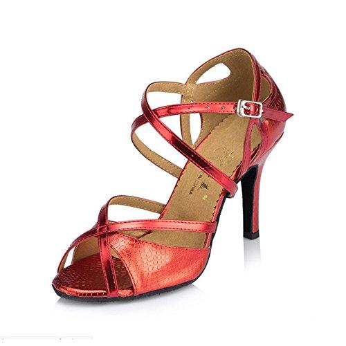 Interior Claro 33 Zapatos Dorado Do Zapatos Noche Rojo Tamaño Latinos Color y Mujer Brillante Gamuza para Do espumoso Baile Brillo Sandalia Talón Azul de Fiesta de XUE PARqU44