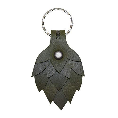 Hide & Drink, Hop Flower Leather Keychain/Key Ring/Holder/Beer Lover/Brewer/Accessories, Handmade Includes 101 Year Warranty :: Dark Jade