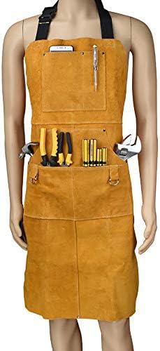 牛革溶接溶接機エプロン、作業安全作業服、グレイジーズ鍛冶屋エプロン、丈夫なコートエプロン。