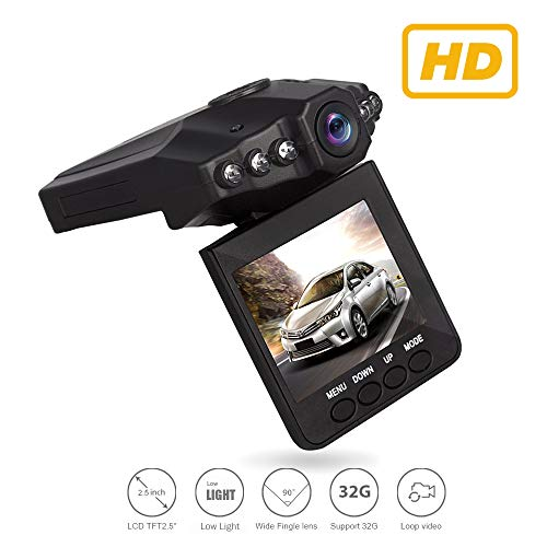 Dash Video, Dash Cam for Cars with Night Vision/HD IR Dash Cam 270 Degrees Rotatable Camera Video Recorder/Traffic Dashboard Camcorder Loop Recording 6Lights (Camera Only)