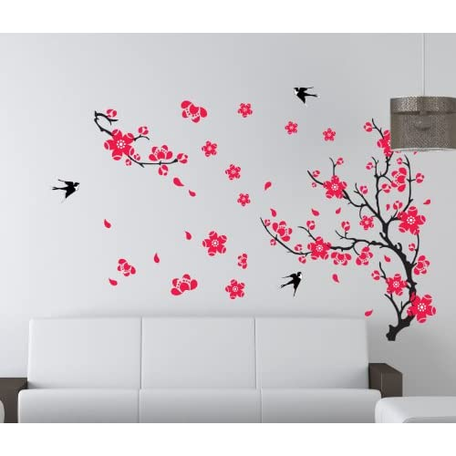 50%OFF Magic Decals Plum Blossom Red Flowers Tree Branch Swallows Art Wall Mural Home Decor Wall Sticker