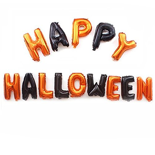 Happy Halloween Balloon, Halloween Foil Letter Balloon for Party Decoration Black and Orange Balloons Halloween Party Supplies]()