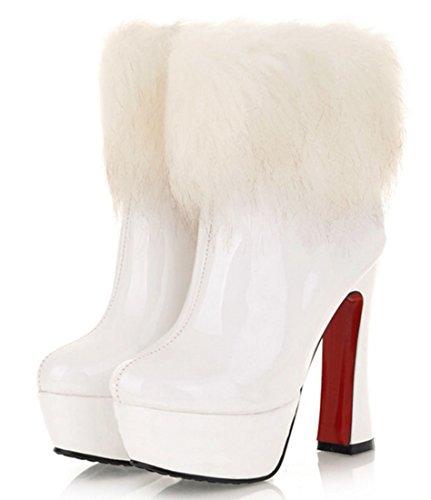 YE Damen Winter Warme High Heels Plateau Lack Stiefeletten mit Kunstpelz 13cm Absatz Blockabsatz Wasserdicht Ankl Boots Schuhe Weiß