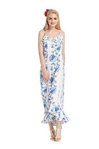 Made in Hawaii Women's Hawaiian Luau Dress Traditional Muumuu Ruffles in White with Line Floral M