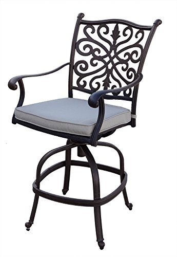 AC HOME & PATIO AC18-7CH-4 Amanda Counter Height Swivel Bar Stool/Seat Cushion (Set of 4), Desert Bronze by AC HOME & PATIO